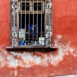 Window on Red Wall San Miguel de Allende, Mexico - Carol Leigh