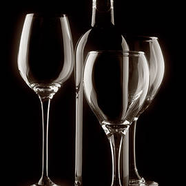 Wine Bottle and Wineglasses Silhouette II