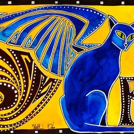 Dora Hathazi Mendes - Winged Feline - Cat Art with letter P by Dora Hathazi Mendes