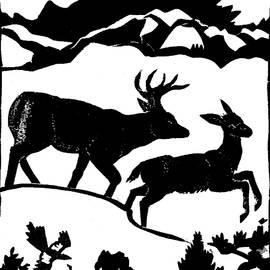 Dawn Senior-Trask - Winter Deer linoleum demo for students