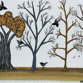 Graciela Bello - Blackbirds in the Winter Grove