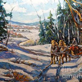 Richard T Pranke - Winter Scene Loggers Horses by Prankearts