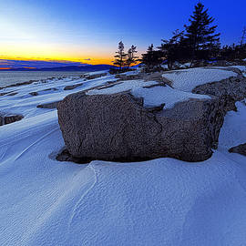 Marty Saccone - Winter Sunset at Schoodic Point Maine