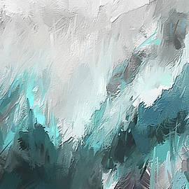 Wintery Mountain- Turquoise and Gray modern Artwork - Lourry Legarde