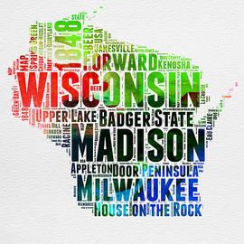 Wisconsin Watercolor Word Cloud Map  - Naxart Studio