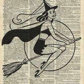 Witch Flying on Broom,Haloowen in Vintage Style Dictionary Art