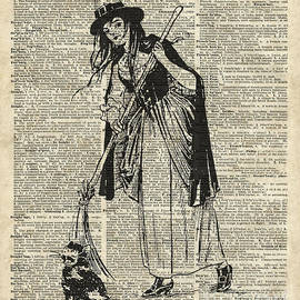 Jacob Kuch - Witch with Broom and Cat Haloowen Party Decoration Gift in Vintage Style
