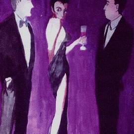 Harry WEISBURD - Woman In Backless Gown With Drink