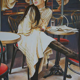Andy Lloyd - Woman sat at Cafe table