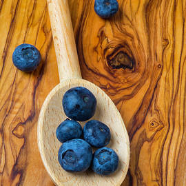 Wooden Spoon And Blueberries - Garry Gay