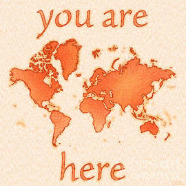 Eleven Corners - World Map Airy You Are Here in Orange and White