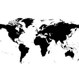 World Map - Black and White - Marianna Mills