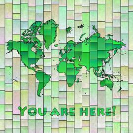 Eleven Corners - World Map Glasa Green Yellow You Are Here