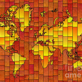 Eleven Corners - World Map Glasa in Orange and Yellow