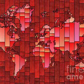 Eleven Corners - World Map Glasa Red