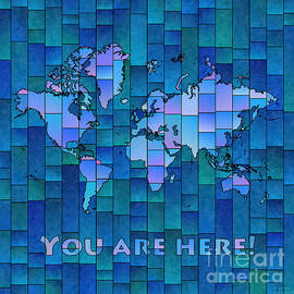 World Map Glasa You Are Here in Blue