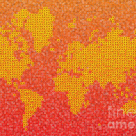 Eleven Corners - World Map Kotak in Yellow Orange and Red