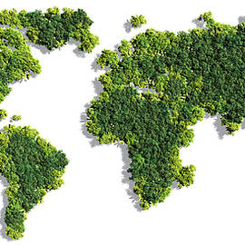 World Map made of green trees - Johan Swanepoel