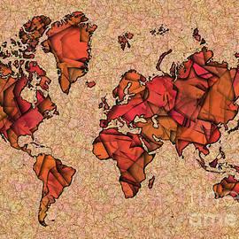 Eleven Corners - World Map Takkede in Brown and Orange