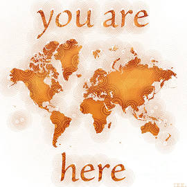 Eleven Corners - World Map Zona You Are Here in Orange and White
