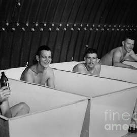 R Muirhead Art - World war II bath time for guys