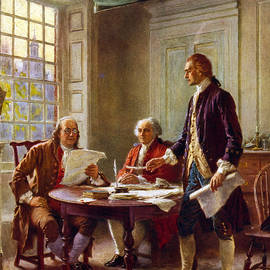 Writing the Declaration of Independence, 1776, - Leon Gerome Ferris