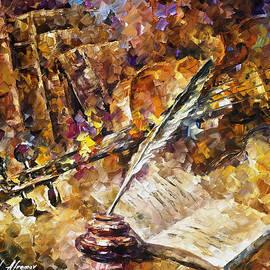Leonid Afremov - Written Music - PALETTE KNIFE Oil Painting On Canvas By Leonid Afremov