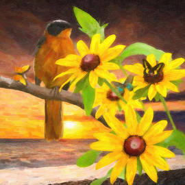 L Wright - Yellow Daisies