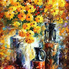 Leonid Afremov - Yellow Flowers - PALETTE KNIFE Oil Painting On Canvas By Leonid Afremov