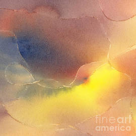 Sharon Freeman - Yellow Orange Blue Watercolor Square Design 1