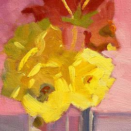 Nancy Merkle - Yellow Roses 2 Still Life Painting