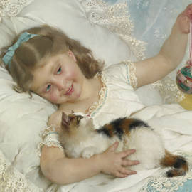 Young Girl and Cat - Emile Munier
