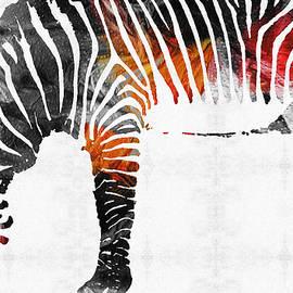 Sharon Cummings - Zebra Black White And Red Orange by Sharon Cummings