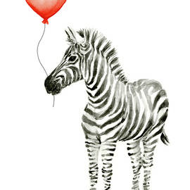Zebra with Red Balloon Whimsical Baby Animals - Olga Shvartsur