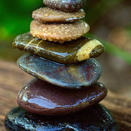 Kaye Menner - Zen Art Balance Wet Rocks by Kaye Menner