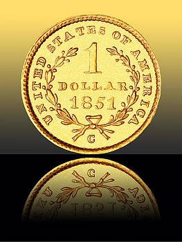 1851 1 Dollar Rare Charlotte Gold by Jim Carrell