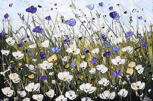 Abstract White Poppifield by Jolina Anthony