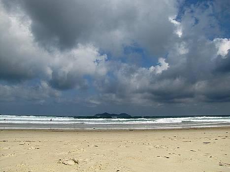 Beach with gathering storm by Elizabeth Hardie