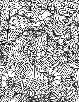 Black and White Flower Doodle by Merle Barge