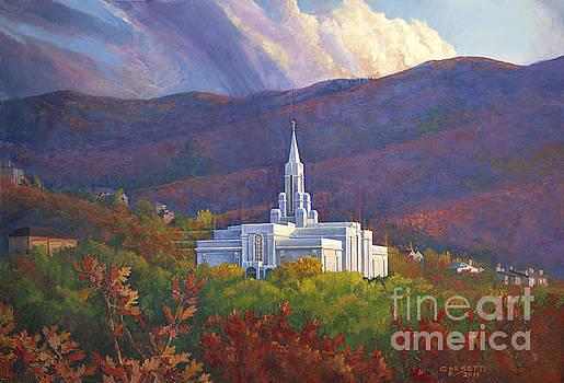 Bountiful Temple in the mountains by Rob Corsetti