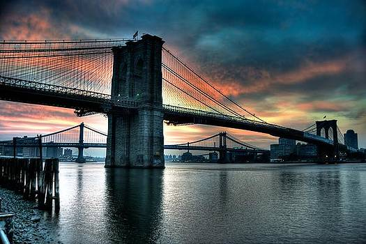 Brooklyn and Manhattan Bridges - Rosy Fingered Dawn by Mark Garbowski