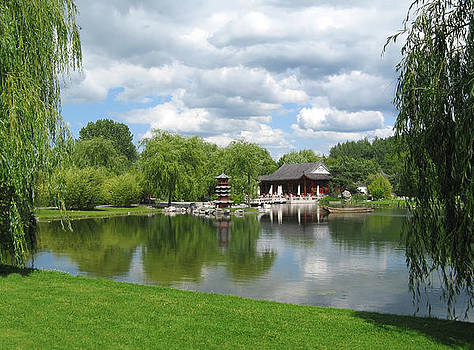 Chinese Tea Pavilion near the lake by Kiril Stanchev