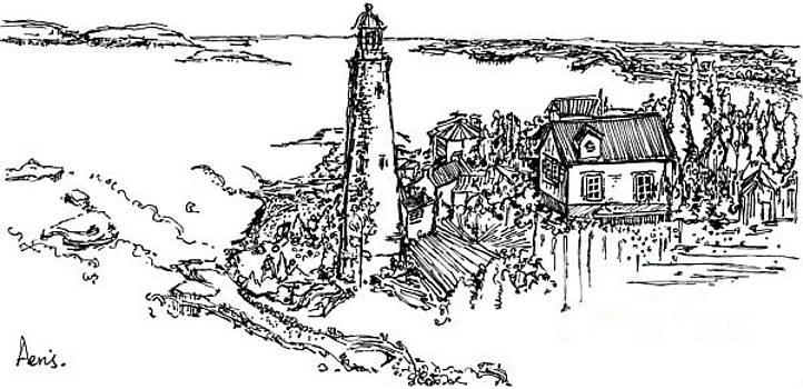 Coastal Light Tower Ink Pen by Aeris Osborne