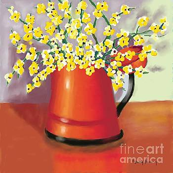 Coffee Pot and Spring Flowers by Dessie Durham