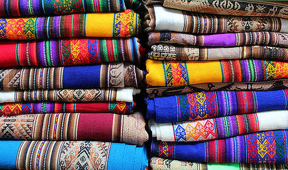 Colorful fabrics by Nathalie Deslauriers