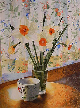 Daffodils with red ribbon by Adel Nemeth