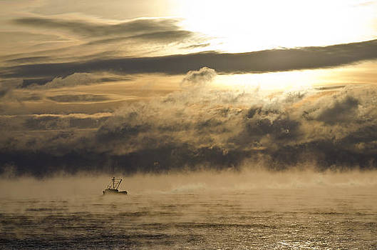 Fishing Boat in the Bay Vapor Sunrise by Roger Lewis