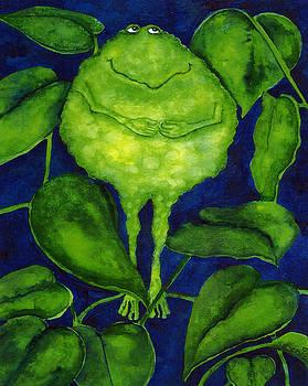 Hubbs Children Art Folk Prints Whimsical Animals Green Pond Frogs Toad by Debi Hubbs