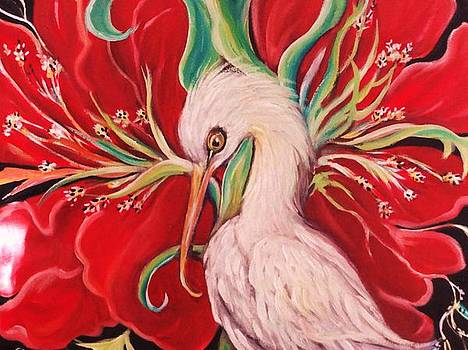 Ibis And Red Flower by Yolanda Rodriguez