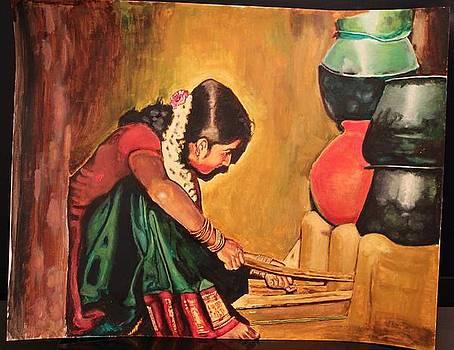 Indian Village girl by Devraj Mallik